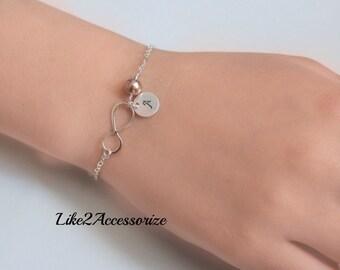Personalized Infinity Bracelet, Infinity Love, Initials, Birthstone, Sterling Silver, Initials Charm Bracelet, Friends Forever Bracelet