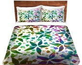 FLORAL Garden Rhapsody Fine Art Duvet Covers, King Queen Twin Size Home Decor Flower Pattern Bedding Teal Green Blue Purple Colorful Bedroom