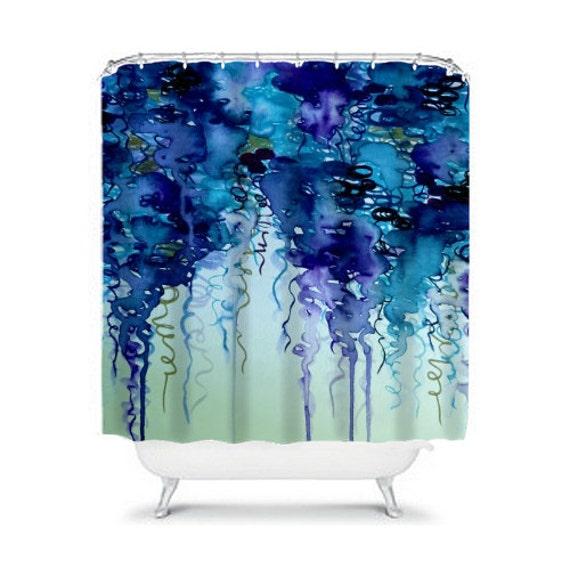 Beauty in the rain in navy blue and indigo fine art shower for Bathroom decor royal blue