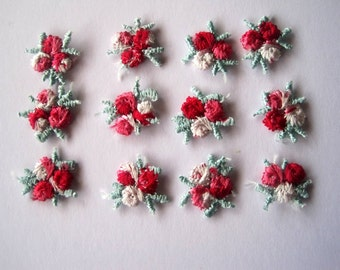 Romantic Embroidered Appliques, 3/4 inch, Red, x 12, For Dolls, Accessories, Scrapbook, Apparel, Home Decor, Victorian Crafts