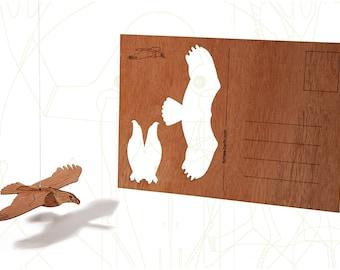 postcard wood - Eagle, three-card-set