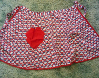 Vintage 1960's Apron-Red White & Blue-A5