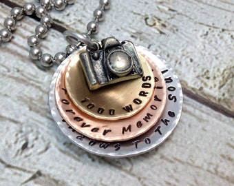 Photography Necklace - Camera Necklace - Gift for Photographers - Camera Charm - Mixed Metals - 1000 Words Necklace - Forever Memorie