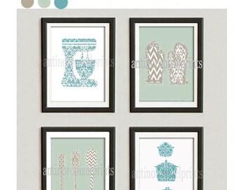 Kitchen Tools Turquoise Khaki Green White Art Collection  -Set of (4) - 8x10 Prints (Unframed)