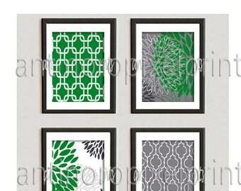 Green Greys Floral Vintage / Modern inspired  Art Prints Collection  -Set of (4) - 5x7 Prints -   (UNFRAMED)