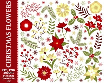 BUY 1 GET 1 FREE - Digital Christmas Flowers Clip Art - Leaves, Flower, Berry, Poinsettia, Christmas Clip art. Commercial and Personal use