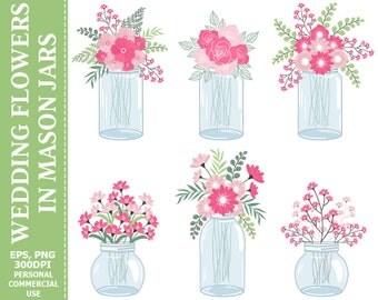 50% OFF SALE Wedding Flowers in Mason Jars Clip Art - Jars, Wedding, Roses, Green, Bouquets Clip Art