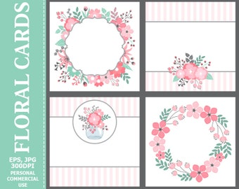 50% OFF SALE Floral Cards - Leaves, Flowers, Wedding, Pastel, Blossoms, Branches, Flowers Cards Set