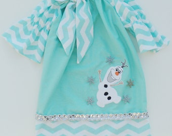 Olaf Inspired Chevron Peasant dress   Sizes  6-12mo, 12-18mo, 18-24mo, 2t, 3t, 4t, 5t