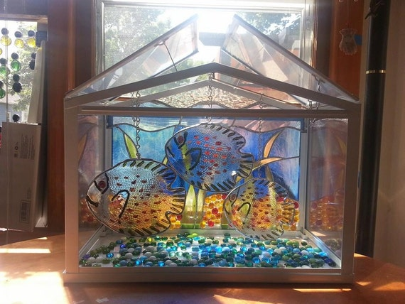 Clearance aquarium terrarium stained glass fish tank for Fish tank terrarium