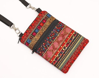 Small Travel Bag, Cell Phone Case Crossbody, Smartphone Sling Pouch, Galaxy Purse, iPhone 6 Plus Zipper Shoulder Bag  - red bohemian stripes