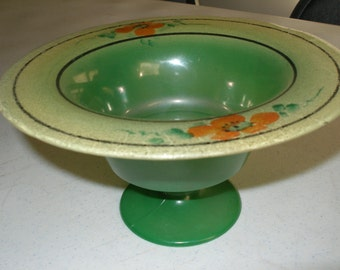 Reverse Painted Glass Dish