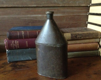 French WWI Military Spirit Flask Brown Metal French Farmhouse Water Bottle