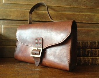 Brown Leather Saddle Bag, Artisan Rustic Distressed Chestnut, Briefcase Style