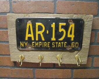 Vintage coat hanger - coat rack - vintage license plate - Made to order- barnwood- and vintage brass hooks- NEW YORK
