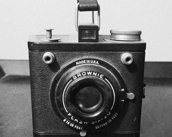 Black And White Square Print Of A Vintage Brownie Camera
