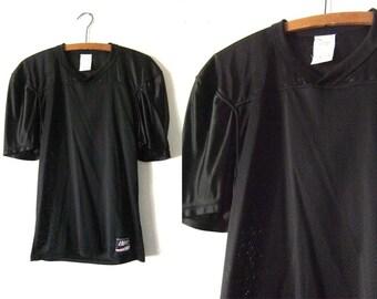 Black Mesh 90s Football Jersey - Dropped Shoulder Health Goth Style Sporty Mesh Vintage Tee - Mens Medium