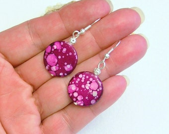 """Ruby Pink Magenta  Mother of Pearl dots 1.5"""" silver drop dangle earrings"""