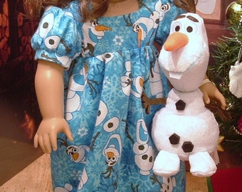 Little Snowman Nightgown and Stuffed Snowman for American Girl Dolls