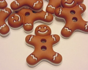 4 large gingerbread man buttons, 17 x 23 mm (19)