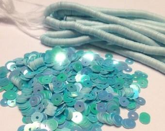 bag of vintage Teal / Aqua iridescent sequins, 4 mm (13)