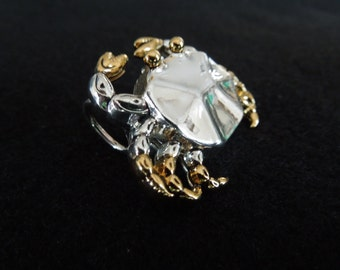 Vintage Crab Brooch, Signed Best, Silver Tone and Gold Tone,  Excellent Condition