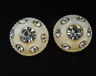 Vintage Clip Earrings.  Gold Toned Base, Cream Colored Enamel with Rhinestones.  Excellent Condition.