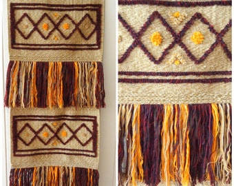 Handmade Vintage 1970's Woven Hippie Tapestry/ Wall Hanging