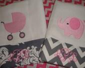 Chevron Grey Baby Burp Cloths Monogram FREE