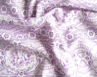 vintage floral fabric french vintage fabric antique floral fabric lilac fabric cotton fabric quilting fabric  156