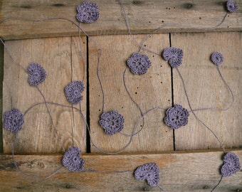 Crocheted lavender purple hearts and flowers Garland, Wedding garland, Wall Hanging,Crochet Wedding Garland,crochet ornament,embellishment