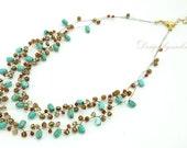 Turquoise,crystal,carnelian on silk thread necklace.