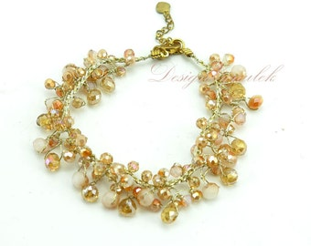 Topaz crystal hand knotted on silk bracelet.