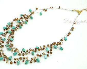 Turquoise,crystal,carnelian on silk thread necklace.