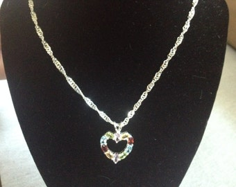 Vintage Sterling Silver Chain Necklace with Sterling Silver Multi-Colored Heart Pendant