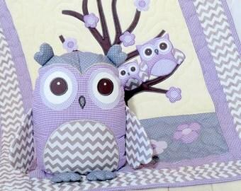 Organic Owl Quilt, Baby  Crib Bedding, Kids Blanket, Owl Pillow,  purple, grey chevron