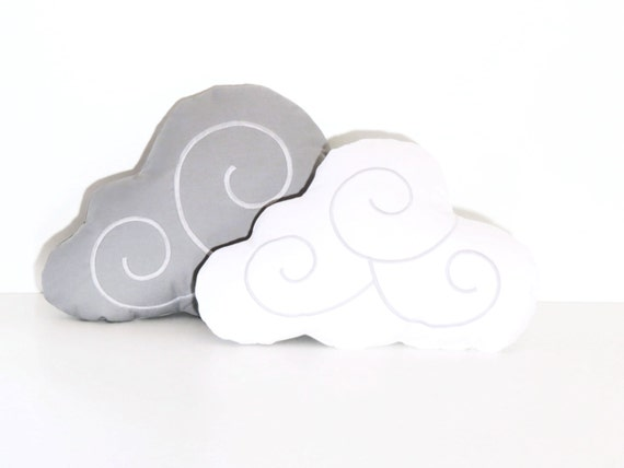 Cloud Pillow Set (2)  Solid Gray, White Kid Pillows