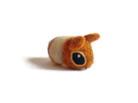 Needle Felted Hamster - Miniature Baby Syrian Amigurumi Animal Soft Sculpture
