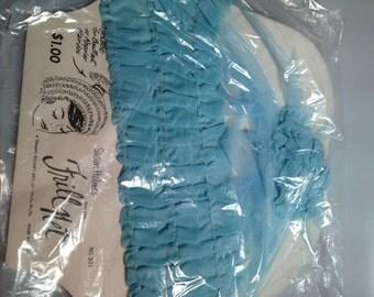 1960s Vintage Nylon FRILL NET by Susan Holmes for BOUFFANT Hairdos Powder Blue Deadstock in Pkg