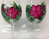 Wedding, Brides maid, anniversary Wine Glass Hibiscus
