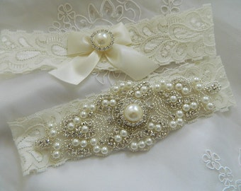 Bridal Garter Set, Wedding Garter, Bridal Garter set, Ivory Wedding Garter, Crystal Pearl Garter