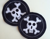 Skull Applique Patch For Kids- Skull and Cross Bones Iron on Patch Navy Twill Background