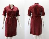 LG - XL Vintage Dress 1970s Deep Wine Dress - NWT Dead Stock