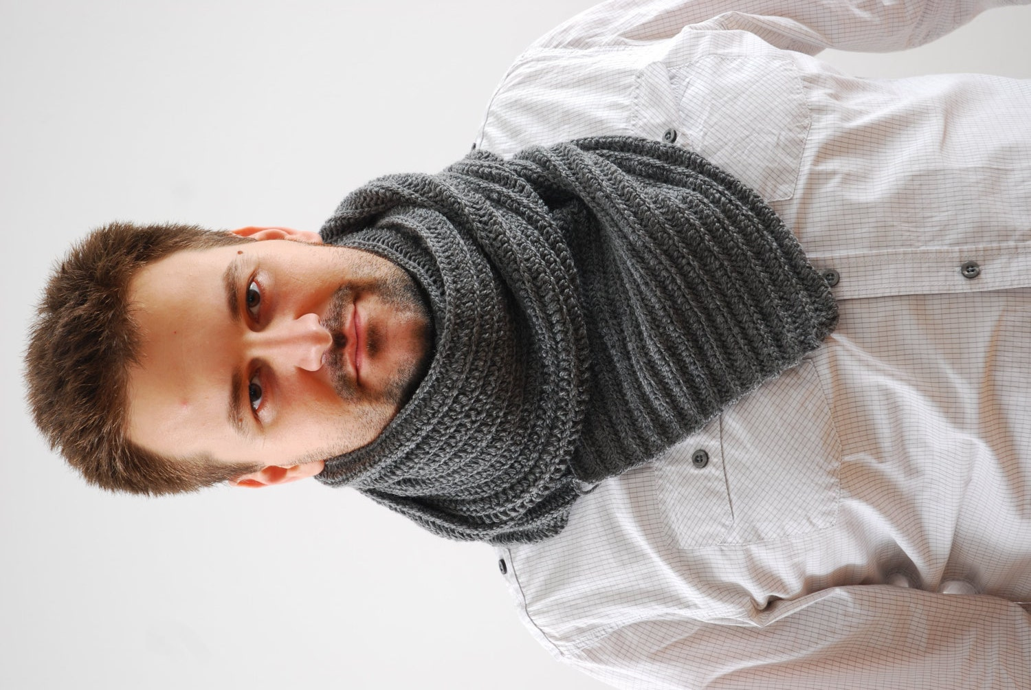 Scarfs Men Scarf And Casual On Pinterest Nice Scarves: Chunky Mens Scarf. Hand Knit Men Scarf. Rib Scarf. Wool Extra