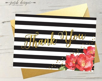 Black & White Stripe with Gold Accent and Red Watercolor Floral ||  Folded 4x6 Card Blank Inside with White or Gold Envelope
