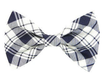 Navy Plaid Dog Bow Tie/ Collar Attachment/ Dog Bow: Navy Plaid