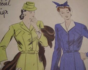 Vintage 1940's Vogue 4434 Special Design Dress Sewing Pattern, Size 14, Bust 32