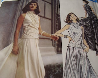 Vintage 1970's Vogue 2817 Couturier Design Galitzine Top, Skirt and Pantskirt Sewing Pattern, Size 12, Bust 34