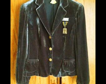Grace....Velvet Victorian Sage Jacket with Vintage Rhinestone Brooch and Swagger, Missouri Award Badge, Vintage Cincinnati Police Buttons
