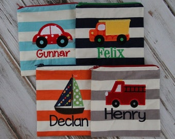Build Your Own Transportation Theme Personalized Reusable Sandwich & Snack Bags with Zipper Closure